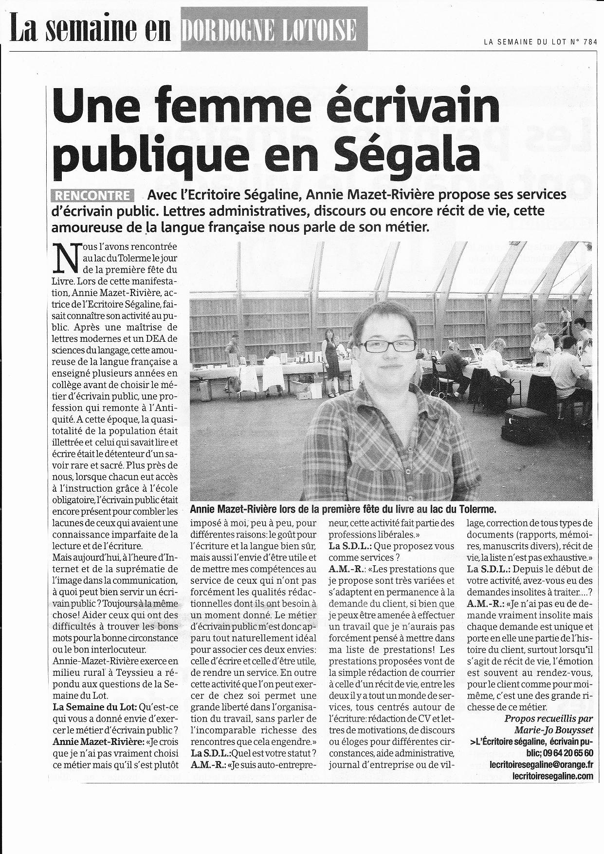 L`critoire ségaline écrivain public dans le Lot